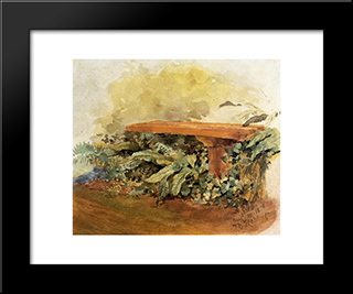 Garden Bench With Ferns: Modern Black Framed Art Print by Theodore Robinson