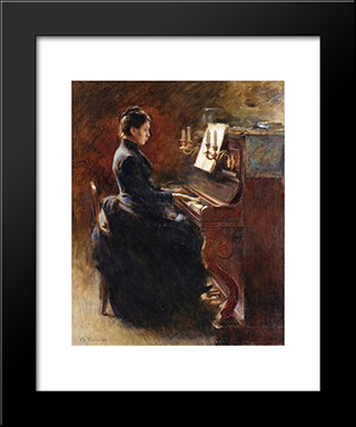 Girl At Piano: Modern Black Framed Art Print by Theodore Robinson