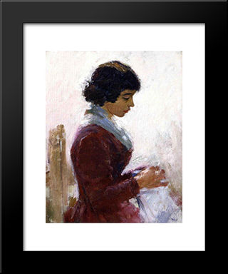 Girl In Red, Sewing: Modern Black Framed Art Print by Theodore Robinson