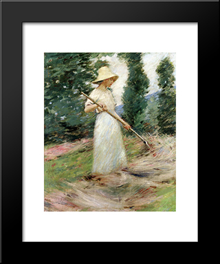 Girl Raking Hay: Modern Black Framed Art Print by Theodore Robinson