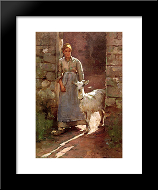 Girl With Goat: Modern Black Framed Art Print by Theodore Robinson