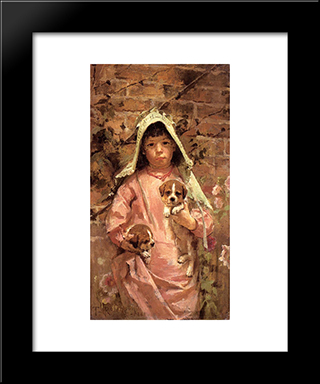 Girl With Puppies: Modern Black Framed Art Print by Theodore Robinson
