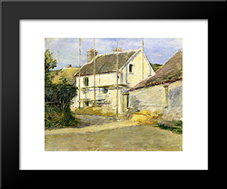 House With Scaffolding: Modern Black Framed Art Print by Theodore Robinson