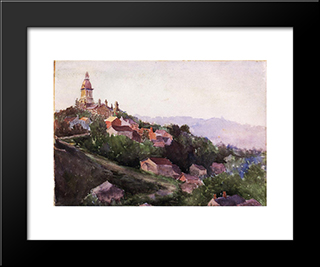 Houses In France: Modern Black Framed Art Print by Theodore Robinson
