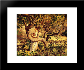In The Garden: Modern Black Framed Art Print by Theodore Robinson
