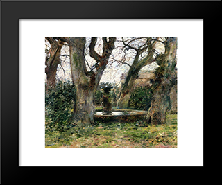Italian Landscape With A Fountain: Modern Black Framed Art Print by Theodore Robinson