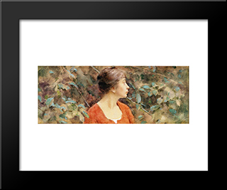Lady In Red: Modern Black Framed Art Print by Theodore Robinson