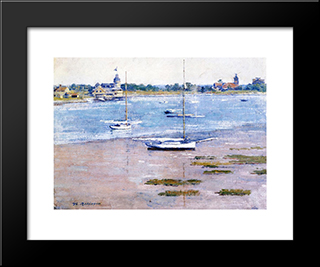 Low Tide: Modern Black Framed Art Print by Theodore Robinson