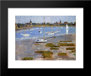 Low Tide, The Riverside Yacht Club: Modern Black Framed Art Print by Theodore Robinson