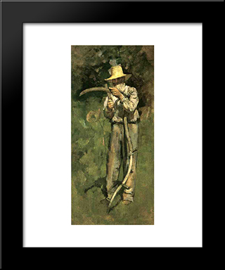 Man With Scythe: Modern Black Framed Art Print by Theodore Robinson