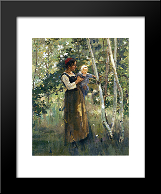 Mother And Child By The Hearth: Modern Black Framed Art Print by Theodore Robinson