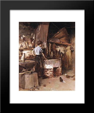 The Apprentice Blacksmith: Modern Black Framed Art Print by Theodore Robinson