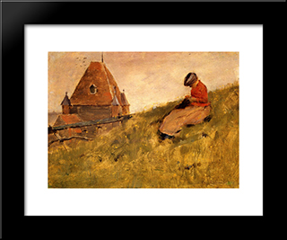 On The Cliff: A Girl Sewing: Modern Black Framed Art Print by Theodore Robinson