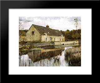 On The Canal: Modern Black Framed Art Print by Theodore Robinson