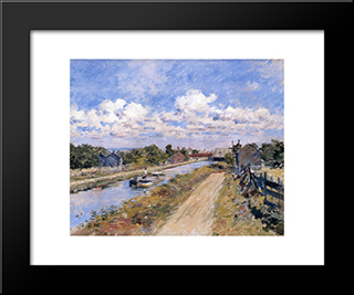 On The Canal (Of Port Ben Series): Modern Black Framed Art Print by Theodore Robinson