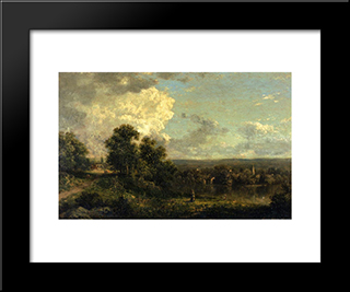 On The Housatonic River, Connecticut: Modern Black Framed Art Print by Theodore Robinson