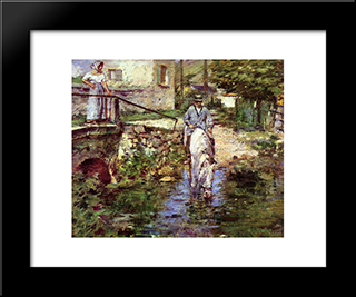 Pere Trognon And His Daughter At The Bridge: Modern Black Framed Art Print by Theodore Robinson