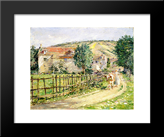 Road By The Mill: Modern Black Framed Art Print by Theodore Robinson