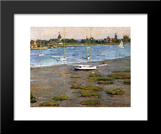 The Anchorage, Cos Cob: Modern Black Framed Art Print by Theodore Robinson