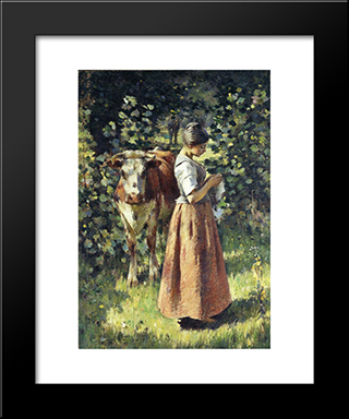 The Cowherd: Modern Black Framed Art Print by Theodore Robinson