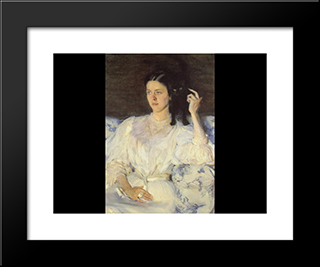 Girl With A Cat: Modern Black Framed Art Print by Cecilia Beaux