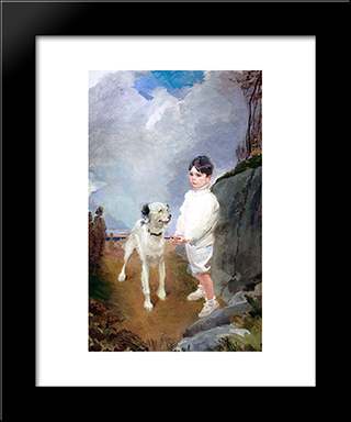 Lane Lovell And His Dog: Modern Black Framed Art Print by Cecilia Beaux
