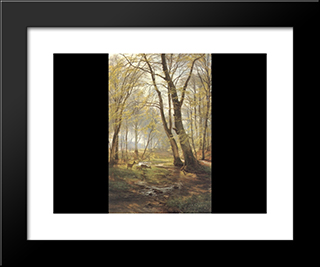 A Woodland Scene With Deer: Modern Black Framed Art Print by Carl Fredrik Aagaard