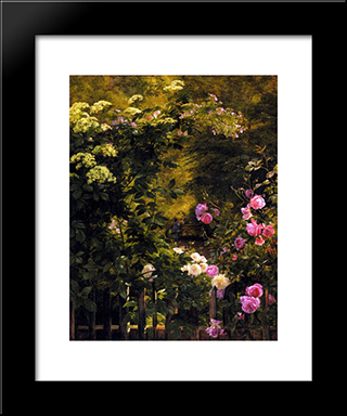 The Rose Garden: Modern Black Framed Art Print by Carl Fredrik Aagaard