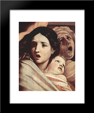 The Slaughter Of The Innocents [Detail #1]: Modern Black Framed Art Print by Guido Reni