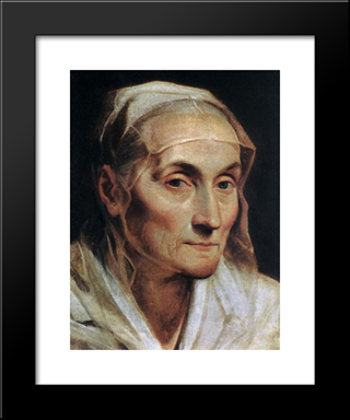 Portrait Of A Old Woman: Modern Black Framed Art Print by Guido Reni