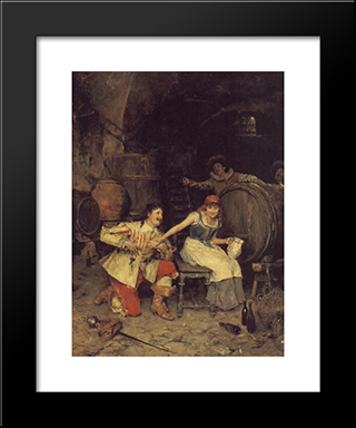Flirtation In The Wine Cellar: Modern Black Framed Art Print by Federico Andreotti