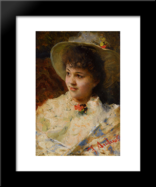 Girl In A Straw Hat: Modern Black Framed Art Print by Federico Andreotti