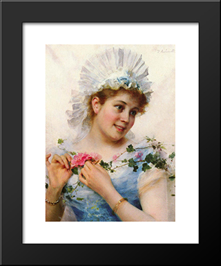 A Young Girl With Roses: Modern Black Framed Art Print by Federico Andreotti