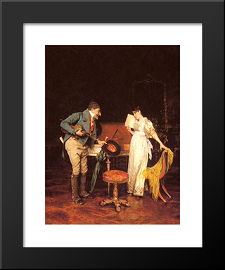 The Music Lesson: Modern Black Framed Art Print by Federico Andreotti