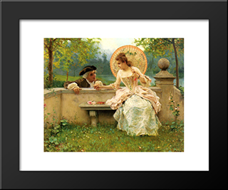 A Tender Moment In The Garden: Modern Black Framed Art Print by Federico Andreotti