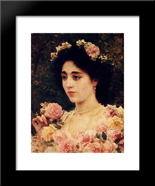 The Pink Rose: Modern Black Framed Art Print by Federico Andreotti