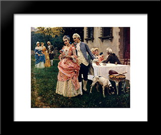 An Afternoon Tea: Modern Black Framed Art Print by Federico Andreotti