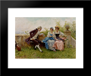 The Poem: Modern Black Framed Art Print by Federico Andreotti
