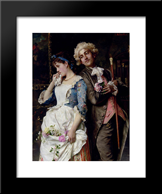 The Persistent Suitor: Modern Black Framed Art Print by Federico Andreotti
