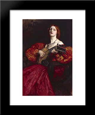 A Lute Player: Modern Black Framed Art Print by Edwin Austin Abbey