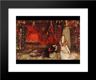 Hamlet Play Scene: Modern Black Framed Art Print by Edwin Austin Abbey