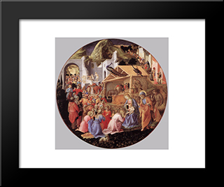 The Adoration Of The Magi: Modern Black Framed Art Print by Fra Angelico