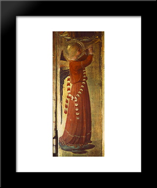 Angel (Detail From The Linaioli Tabernacle): Modern Black Framed Art Print by Fra Angelico