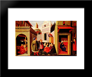 Story Of St Nicholas: Modern Black Framed Art Print by Fra Angelico