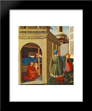 Story Of St Nicholas: Birth Of St Nicholas: Modern Black Framed Art Print by Fra Angelico