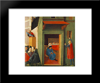 Story Of St Nicholas: Giving Dowry To Three Poor Girls: Modern Black Framed Art Print by Fra Angelico