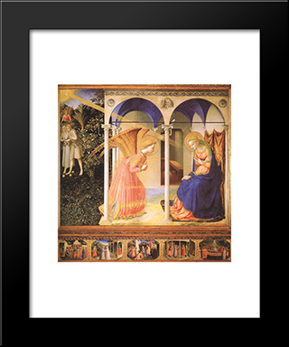 The Annunciation: Modern Black Framed Art Print by Fra Angelico