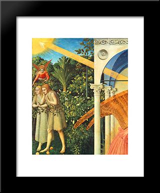 The Annunciation (Detail): Modern Black Framed Art Print by Fra Angelico
