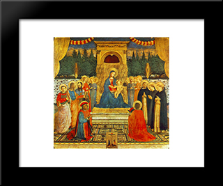 Madonna With The Child, Saints And Crucifixion: Modern Black Framed Art Print by Fra Angelico