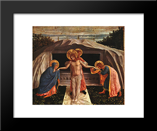 Entombment (Pieta): Modern Black Framed Art Print by Fra Angelico
